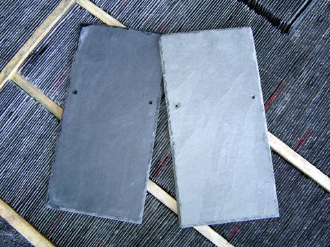 Telhas de ard�sia cinza e preta